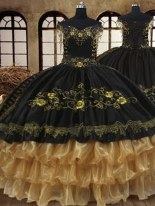 Fine Black Off The Shoulder Neckline Beading and Embroidery and Ruffled Layers Quince Ball Gowns Sleeveless Lace Up