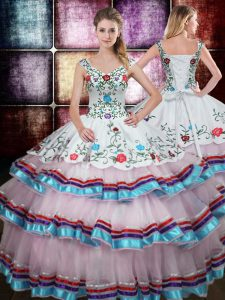 Straps Multi-color Sleeveless Beading and Embroidery Floor Length Quinceanera Dress
