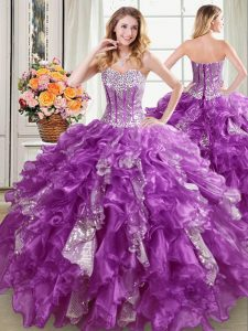 Purple Lace Up Sweetheart Beading and Ruffles and Sequins Quinceanera Dresses Organza Sleeveless