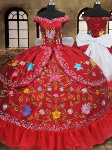 Eye-catching Off the Shoulder Red Lace Up Sweet 16 Quinceanera Dress Embroidery and Bowknot Sleeveless Floor Length