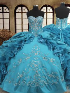 Floor Length Teal Quinceanera Gown Sweetheart Sleeveless Lace Up