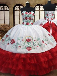 White and Red Organza Lace Up Sweetheart Sleeveless Floor Length Quinceanera Dress Embroidery and Ruffled Layers