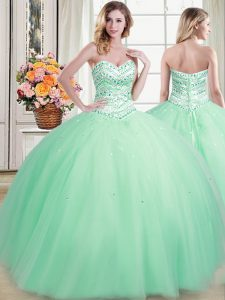 Apple Green Ball Gowns Beading 15th Birthday Dress Lace Up Tulle Sleeveless Floor Length