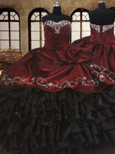 Sweetheart Sleeveless Organza and Taffeta Ball Gown Prom Dress Beading and Embroidery and Ruffled Layers Lace Up