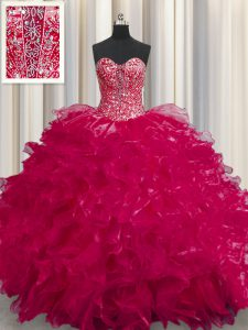 See Through Coral Red Quinceanera Gowns Military Ball and Sweet 16 and Quinceanera and For with Beading and Ruffles Sweetheart Sleeveless Lace Up