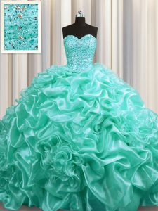 Glamorous Aqua Blue Ball Gowns Sweetheart Sleeveless Organza With Train Court Train Lace Up Beading and Pick Ups Quinceanera Dresses