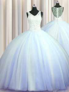 See Through Zipper Up Light Blue Ball Gowns V-neck Sleeveless Tulle With Brush Train Zipper Beading and Appliques Quinceanera Gowns