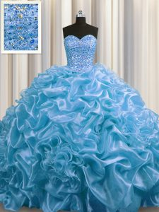 Court Train Baby Blue Ball Gowns Beading and Pick Ups Quinceanera Gowns Lace Up Organza Sleeveless Floor Length