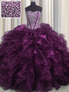 Enchanting Visible Boning Dark Purple 15th Birthday Dress Military Ball and Sweet 16 and Quinceanera and For with Beading and Ruffles Sweetheart Sleeveless Brush Train Lace Up