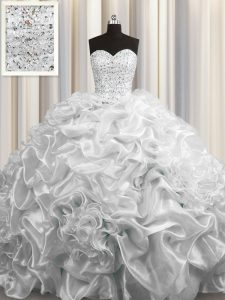 Clearance Court Train Sweetheart Sleeveless Quinceanera Dress Floor Length Beading and Pick Ups Grey Organza