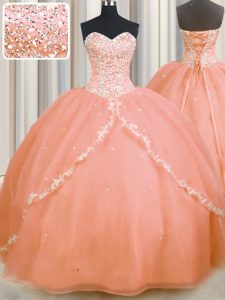 With Train Lace Up 15th Birthday Dress Peach for Military Ball and Sweet 16 and Quinceanera with Beading and Appliques Brush Train