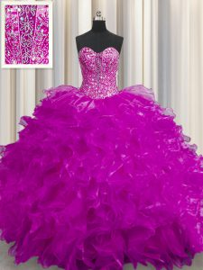 See Through Floor Length Fuchsia Juniors Party Dress Sweetheart Sleeveless Lace Up