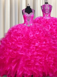 Zipper Up See Through Back Fuchsia Zipper Straps Beading and Ruffles Quinceanera Gowns Organza Sleeveless Sweep Train