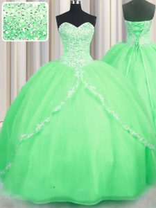 Brush Train Sweetheart Neckline Beading and Appliques Quinceanera Gowns Sleeveless Lace Up