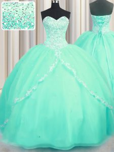 Turquoise Lace Up Sweetheart Beading and Appliques Damas Dress Organza Sleeveless Brush Train