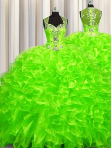 Exceptional Pick Ups Zipper Up See Through Back Sleeveless Brush Train Beading Zipper Quinceanera Dresses