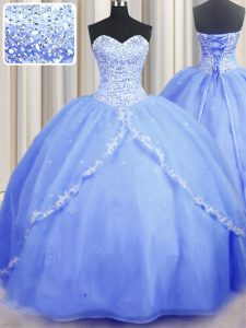 High End Sleeveless Brush Train Beading and Appliques Lace Up Quinceanera Dress