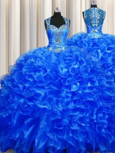 Zipper Up See Through Back Royal Blue Quince Ball Gowns Military Ball and Sweet 16 and Quinceanera and For with Beading and Ruffles Straps Sleeveless Sweep Train Zipper