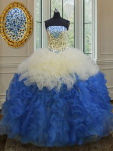 Fancy Blue And White Ball Gowns Beading and Ruffles Ball Gown Prom Dress Lace Up Organza Sleeveless Floor Length