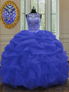 Elegant Blue Scoop Neckline Beading and Pick Ups Vestidos de Quinceanera Sleeveless Lace Up