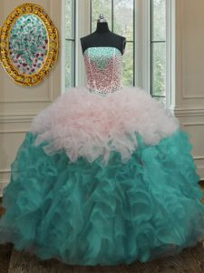 Fancy Sleeveless Organza Floor Length Lace Up Quince Ball Gowns in Multi-color with Beading and Ruffles