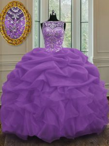 Great Purple Ball Gowns Organza Scoop Sleeveless Beading and Pick Ups Floor Length Lace Up Quince Ball Gowns