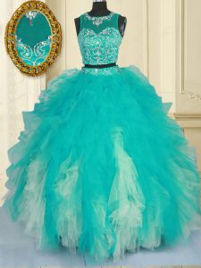 Enchanting Turquoise Tulle Zipper Scoop Sleeveless Floor Length Sweet 16 Quinceanera Dress Beading and Ruffles
