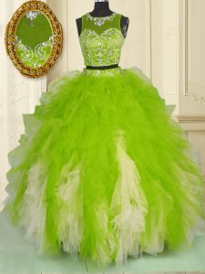 Luxurious Scoop Sleeveless Sweet 16 Dresses Floor Length Beading and Ruffles Multi-color Tulle