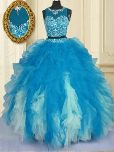Scoop Blue And White Sleeveless Floor Length Beading and Ruffles Zipper Quinceanera Court of Honor Dress
