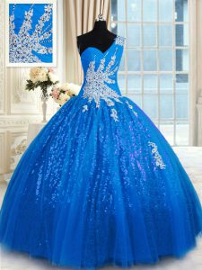 One Shoulder Blue Lace Up Quinceanera Dresses Appliques Sleeveless Floor Length