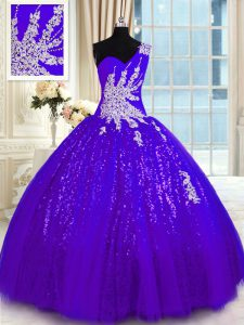 Sophisticated One Shoulder Sleeveless Tulle and Sequined Quinceanera Dresses Appliques Lace Up