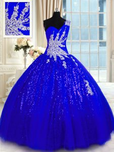 Artistic Royal Blue One Shoulder Lace Up Appliques Sweet 16 Dresses Sleeveless