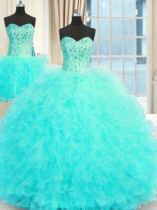 Cute Three Piece Aqua Blue Tulle Lace Up Party Dresses Sleeveless Floor Length Beading and Ruffles