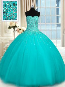 Admirable Turquoise Sleeveless Floor Length Beading Lace Up Quinceanera Gown