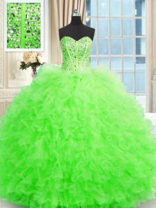 Smart Lace Up Strapless Beading and Ruffles Juniors Party Dress Tulle Sleeveless