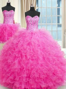 Charming Three Piece Rose Pink Lace Up Strapless Beading and Ruffles Quinceanera Gowns Tulle Sleeveless