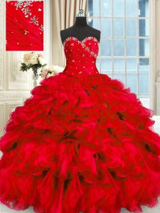 Eye-catching Red Sweetheart Neckline Beading and Ruffles Sweet 16 Quinceanera Dress Sleeveless Lace Up