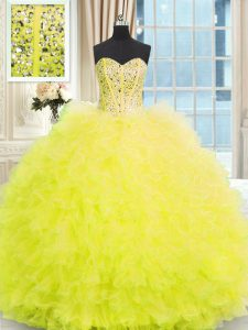 Light Yellow Ball Gowns Strapless Sleeveless Tulle Floor Length Lace Up Beading and Ruffles Ball Gown Prom Dress