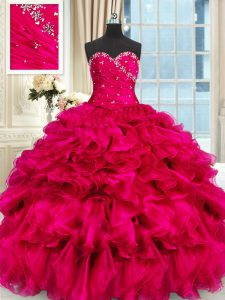 Chic Hot Pink Lace Up Sweetheart Beading and Ruffles Quince Ball Gowns Organza Sleeveless