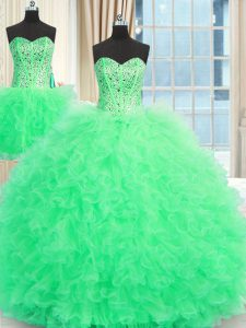 Low Price Three Piece Apple Green Ball Gowns Beading and Ruffles Quinceanera Gowns Lace Up Tulle Sleeveless Floor Length
