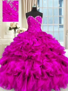 Dazzling High Low Ball Gowns Sleeveless Fuchsia Sweet 16 Quinceanera Dress Lace Up