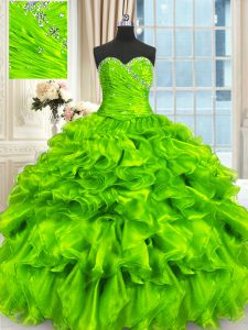 Floor Length Quinceanera Gowns Sweetheart Sleeveless Lace Up