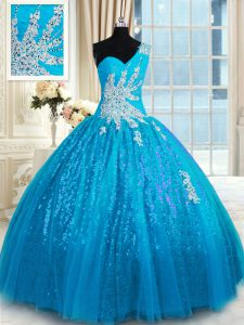 Baby Blue Vestidos de Quinceanera Military Ball and Sweet 16 and Quinceanera and For with Appliques One Shoulder Sleeveless Lace Up