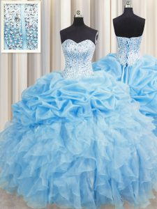 Elegant Visible Boning Baby Blue Sweetheart Neckline Beading and Ruffles and Pick Ups Quinceanera Dresses Sleeveless Lace Up