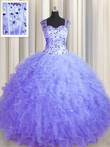 See Through Zipper Up Floor Length Lavender Quince Ball Gowns Square Sleeveless Zipper