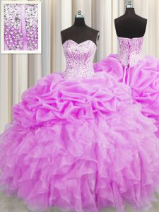 Custom Made Visible Boning Organza Sweetheart Sleeveless Lace Up Beading and Ruffles and Pick Ups 15 Quinceanera Dress in Lilac