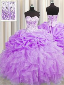 Visible Boning Purple Sleeveless Beading and Ruffles and Pick Ups Floor Length Quinceanera Gowns