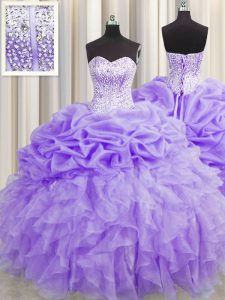 Vintage Visible Boning Sleeveless Floor Length Beading and Ruffles and Pick Ups Lace Up Ball Gown Prom Dress with Lavender