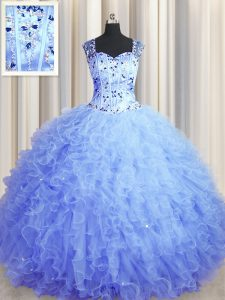 Fabulous See Through Zipper Up Light Blue Sleeveless Beading and Ruffles Floor Length Quince Ball Gowns