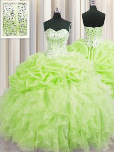 Visible Boning Yellow Green Organza Lace Up Quinceanera Gown Sleeveless Floor Length Beading and Ruffles and Pick Ups